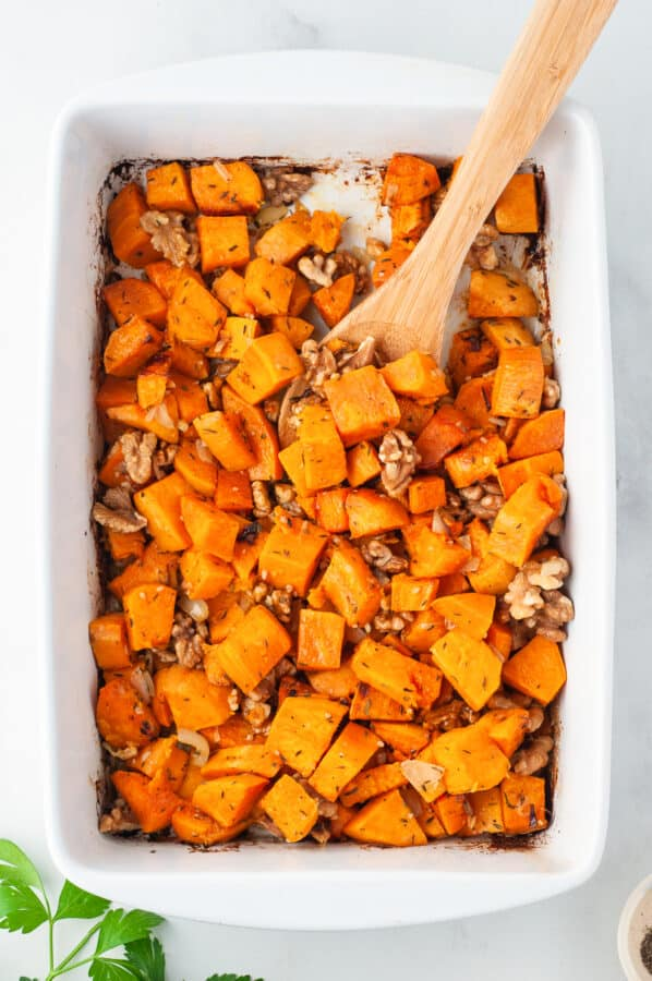 maple roasted sweet potato casserole with walnuts
