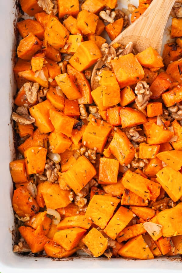 up close image of roasted sweet potatoes
