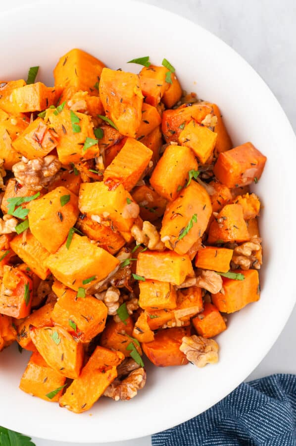 roasted sweet potato casserole in bowl