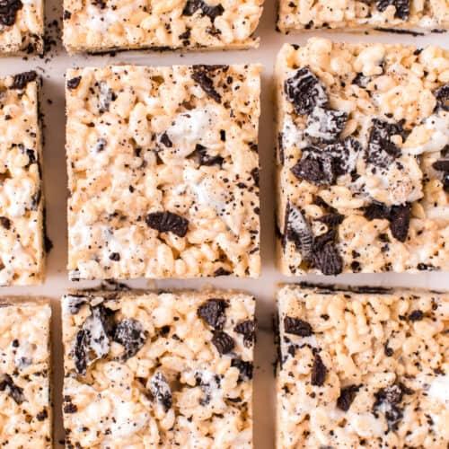 sliced oreo rice krispie treats