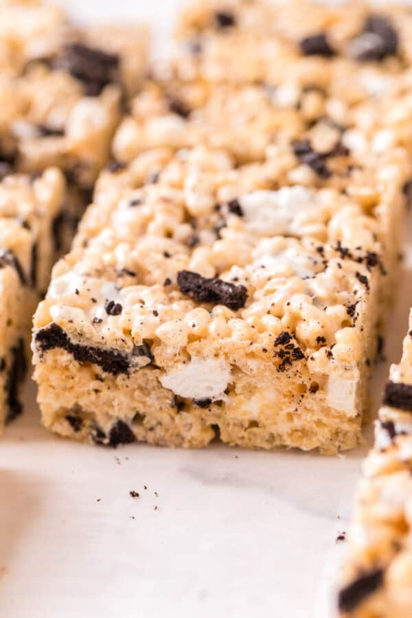 up close side shot of cookies and cream rice krispie treat