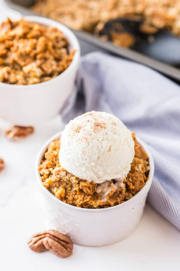 pumpkin crisp topped with ice cream