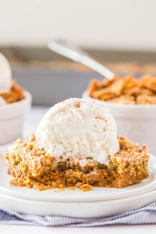 slice of pumpkin crisp with ice cream