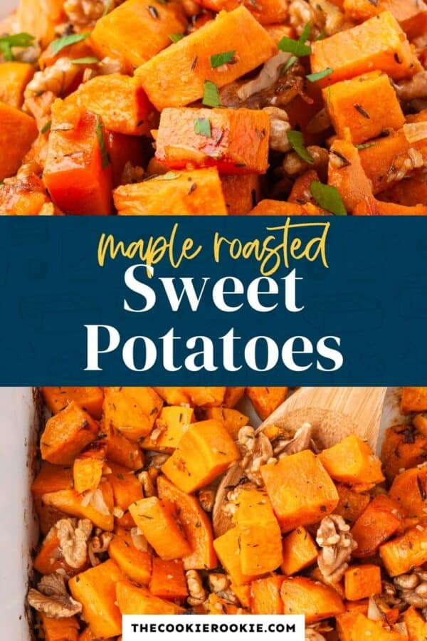 maple roasted sweet potatoes pinterest collage
