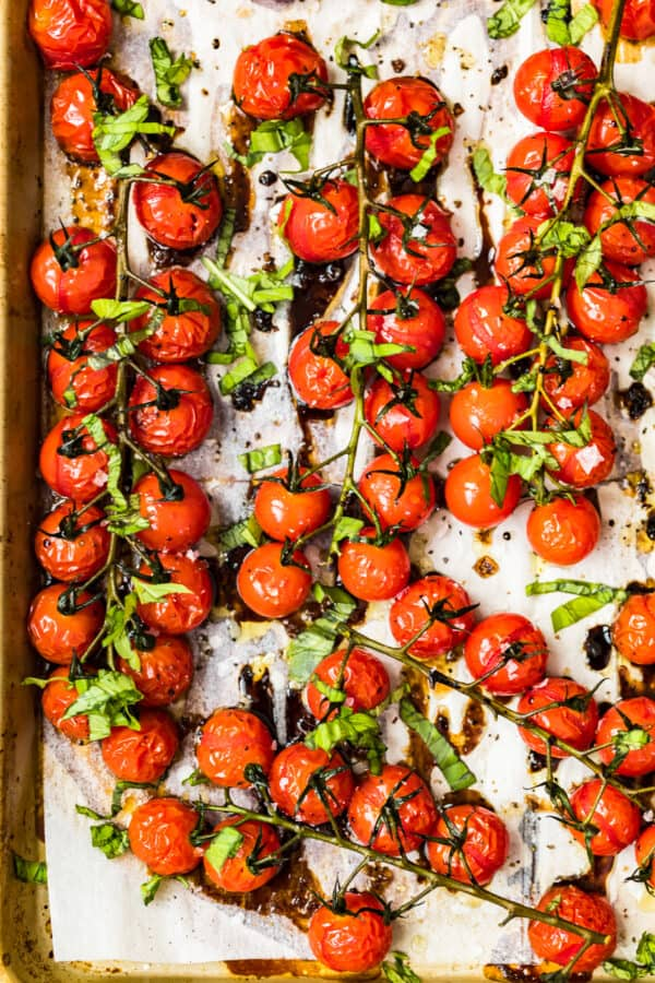 roasted tomatoes with balsamic on sheet pan