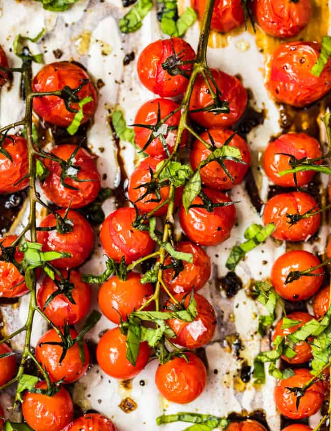 tomatoes on the vine roasted with balsamic vinegar