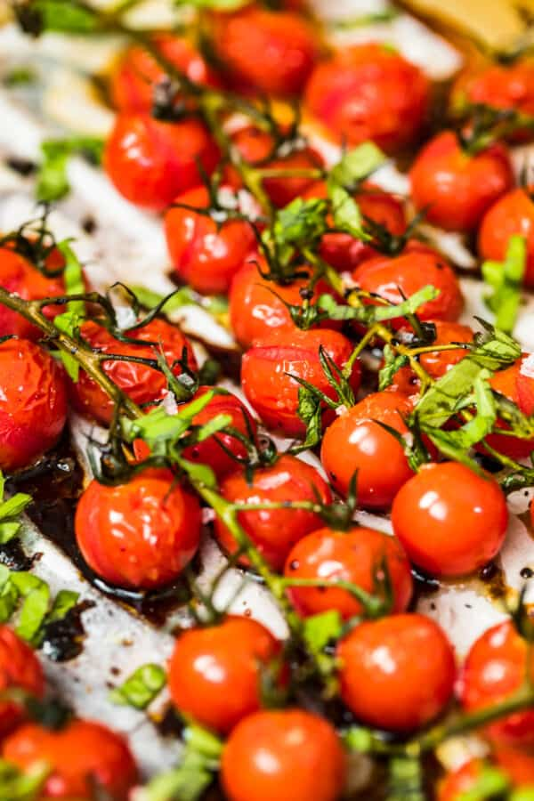 tomatoes with balsamic vinegar topped with basil