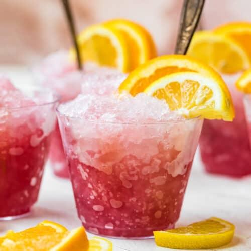 summer wine slush in glasses with fruit