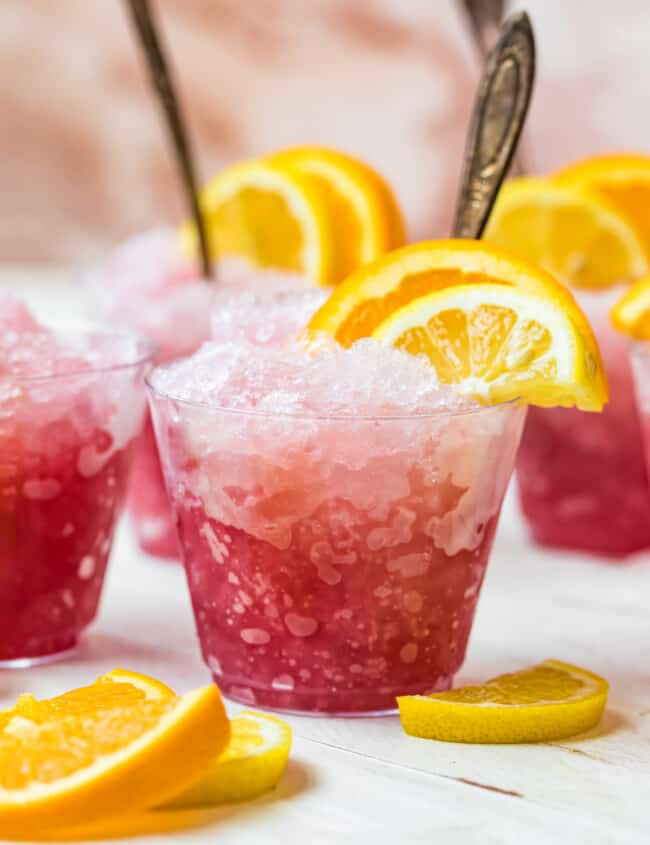 summer wine slush in glasses with fruit