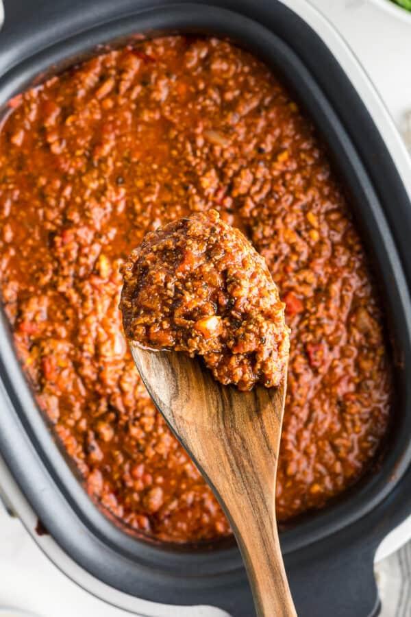 spaghetti sauce cooked in crockpot