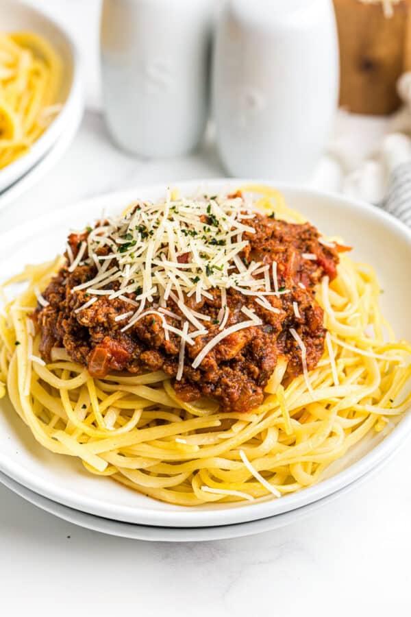 beef spaghetti sauce over pasta