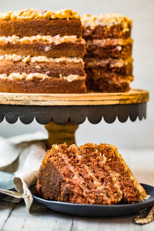 slice next to german chocolate cake