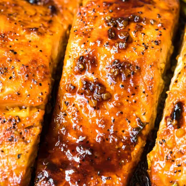 cooked salmon with honey garlic sauce