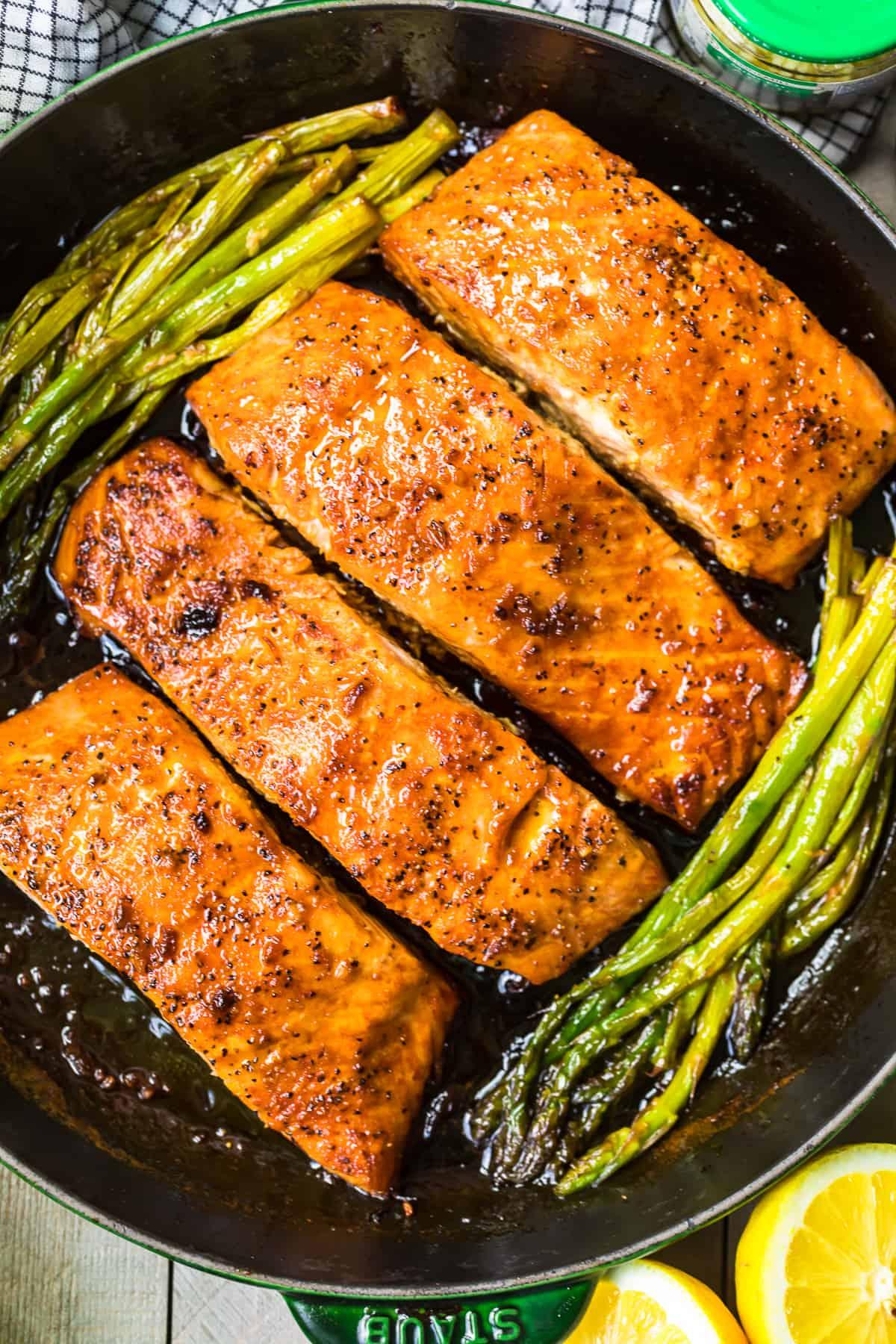 Honey Garlic Salmon and Asparagus