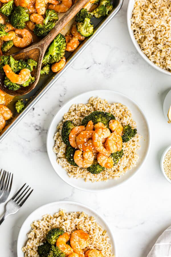 plated shrimp and broccoli over rice
