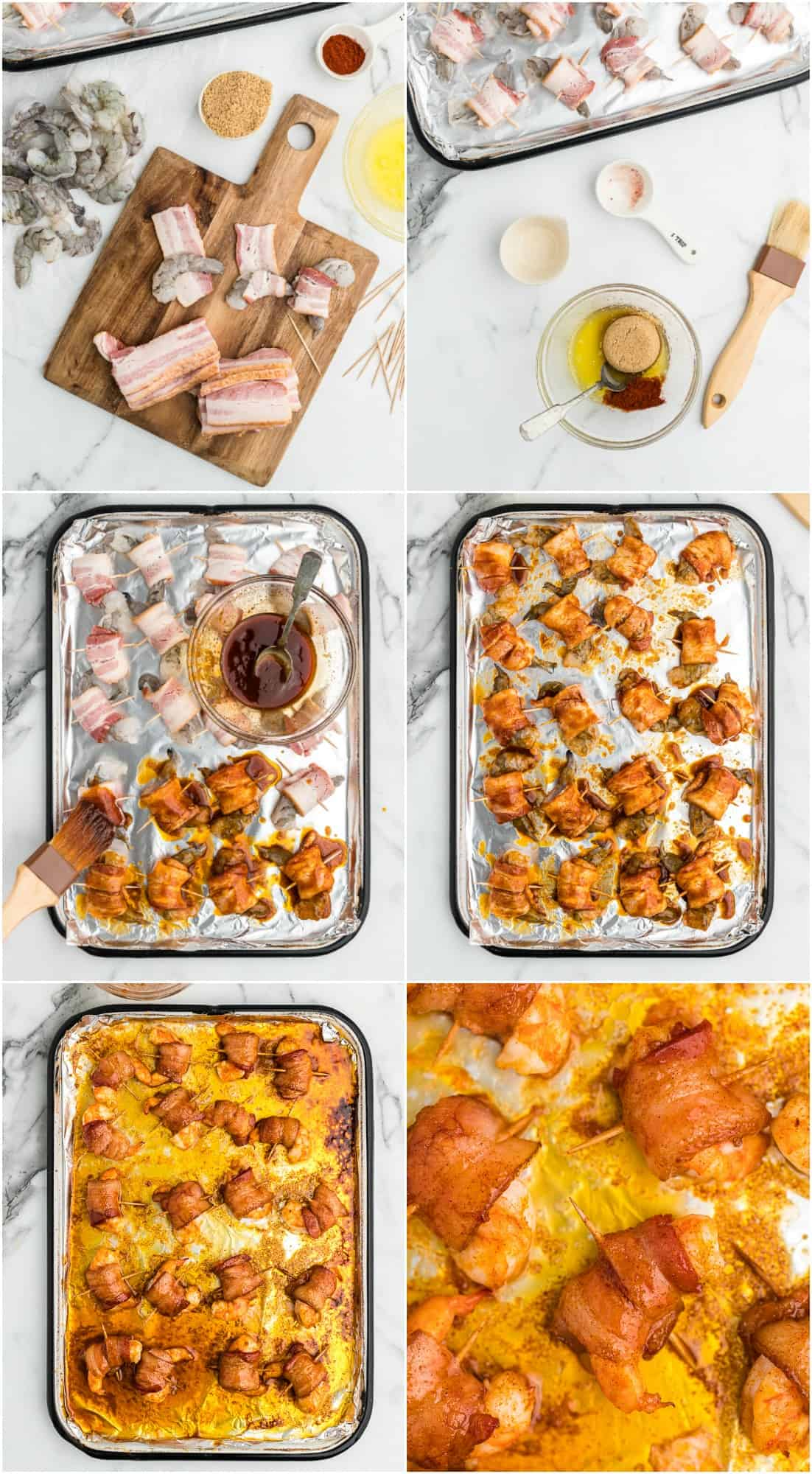 bacon wrapped shrimp step by step process shots