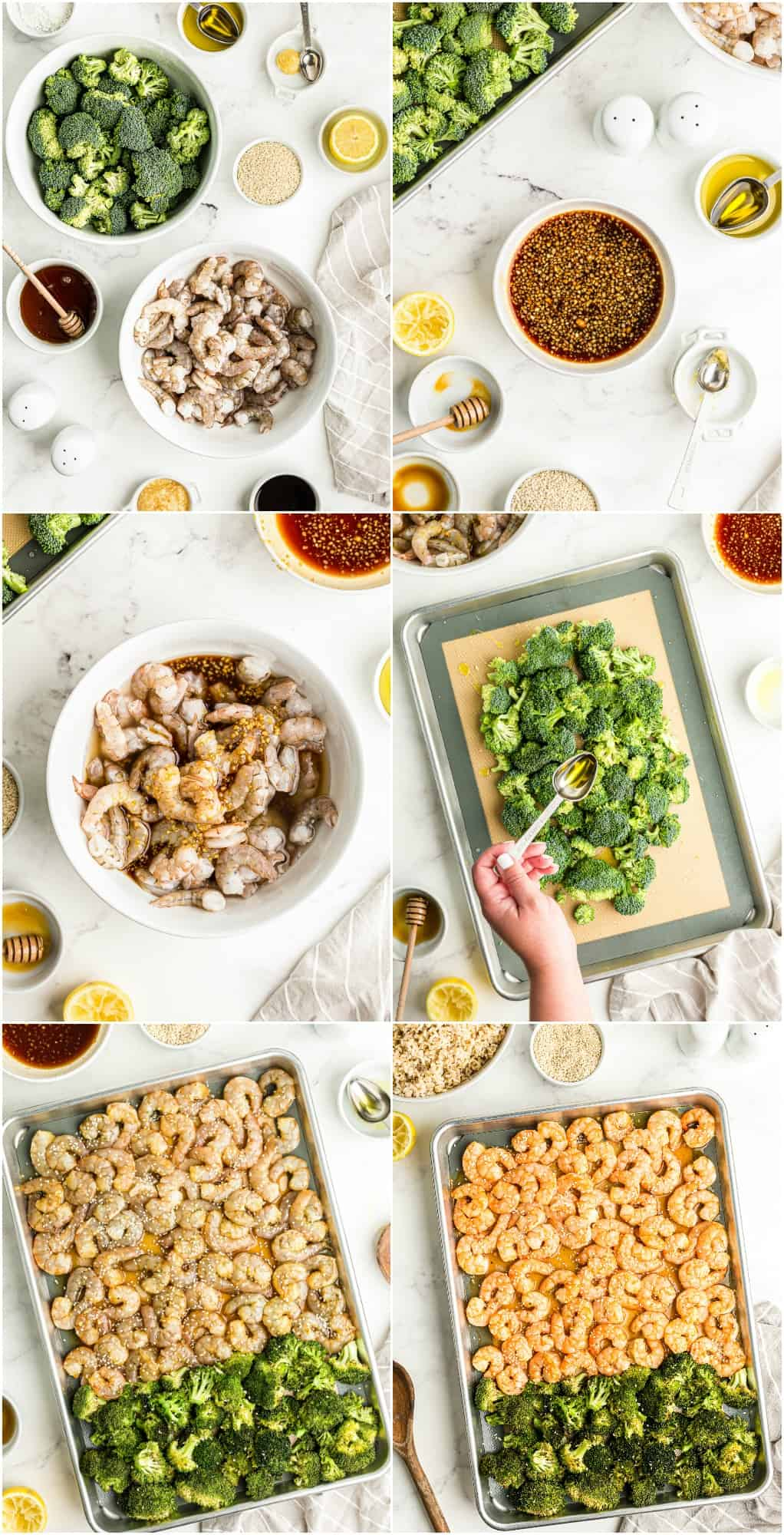 step by step photos of how to make honey garlic shrimp and broccoli sheet pan dinner