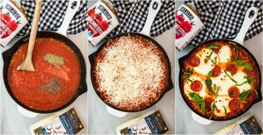 step by step photos of how to make pepperoni pizza gnocchi bake