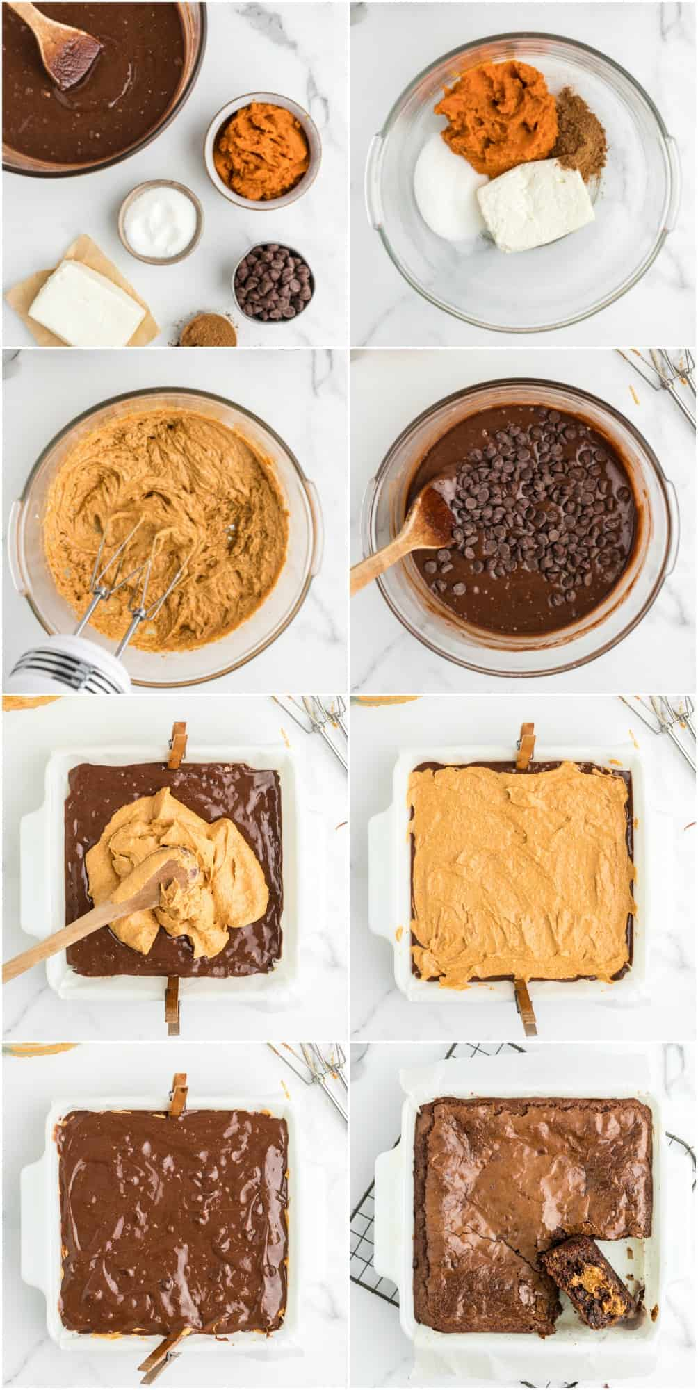 step by step photos of how to make pumpkin brownies