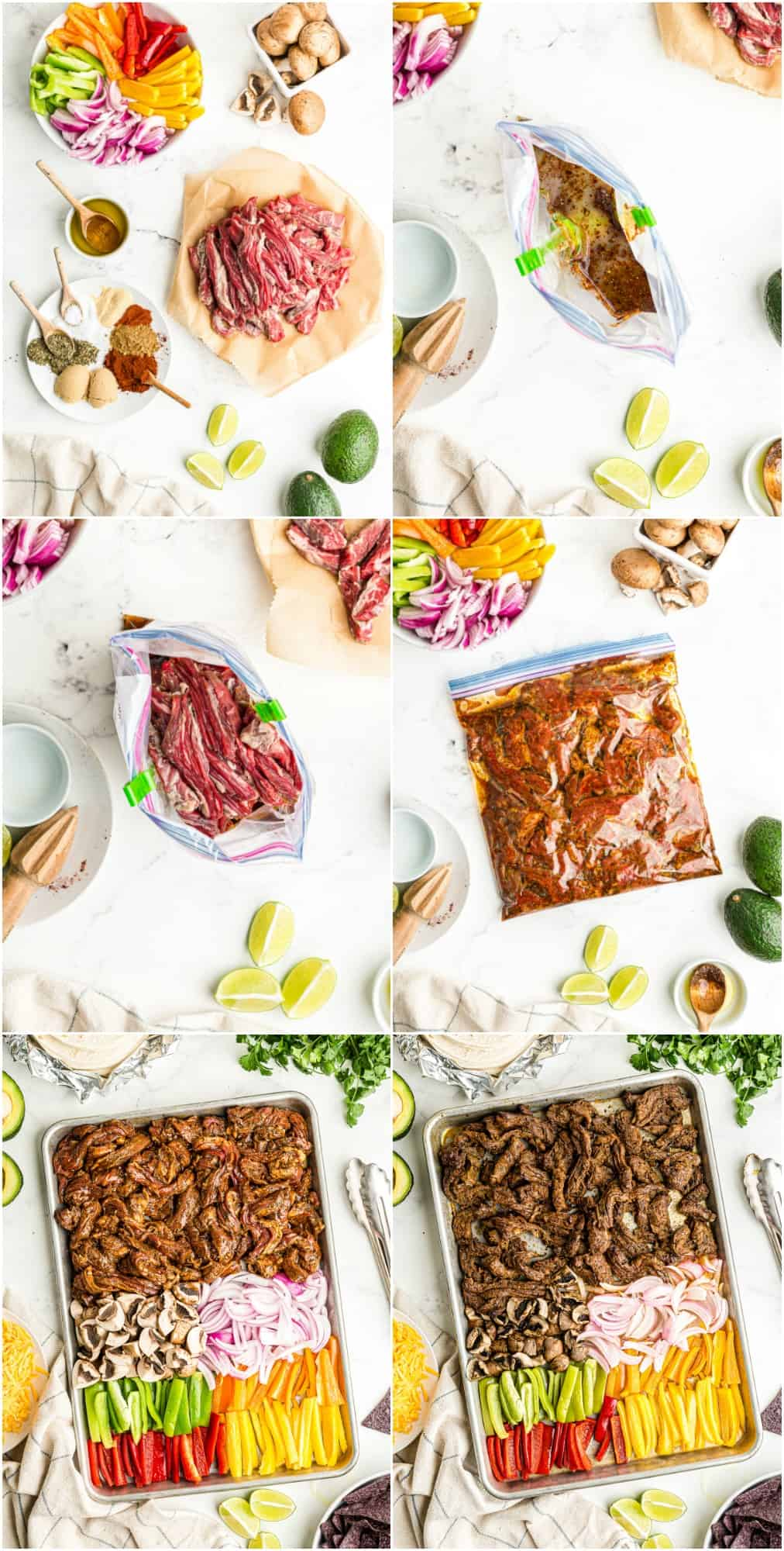 step by step photos for how to make sheet pan steak fajitas