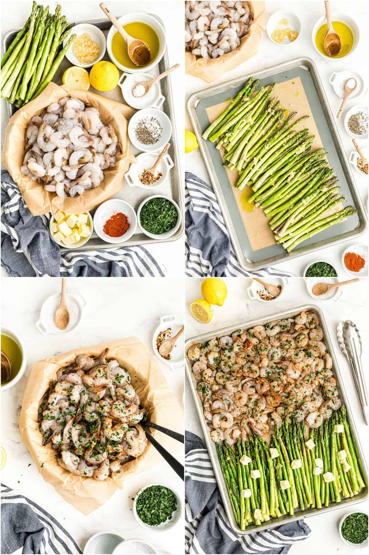 step by step photos of how to make shrimp and asparagus sheet pan dinner