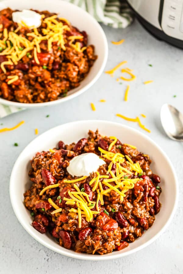 two bowls of instant pot chili