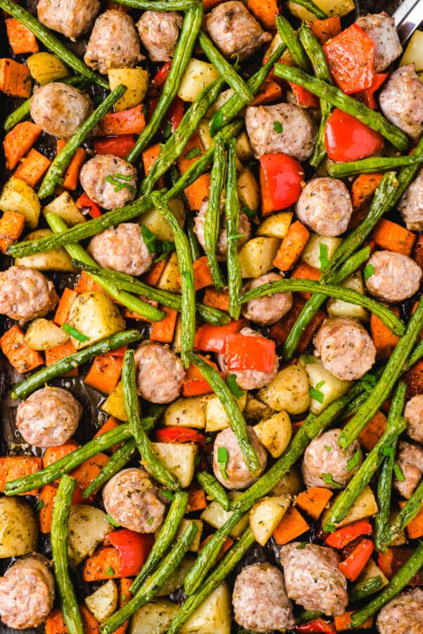 Italian Sausage and Vegetables on sheet pan