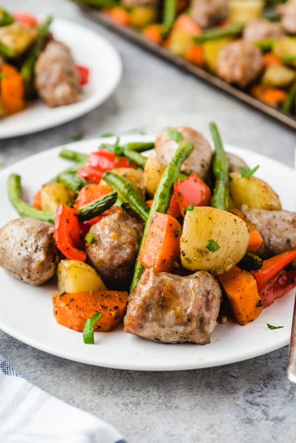 side shot of Italian Sausage and Vegetables