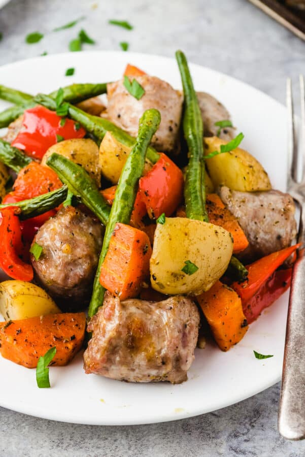 up close image of Italian Sausage, potatoes, vegetables