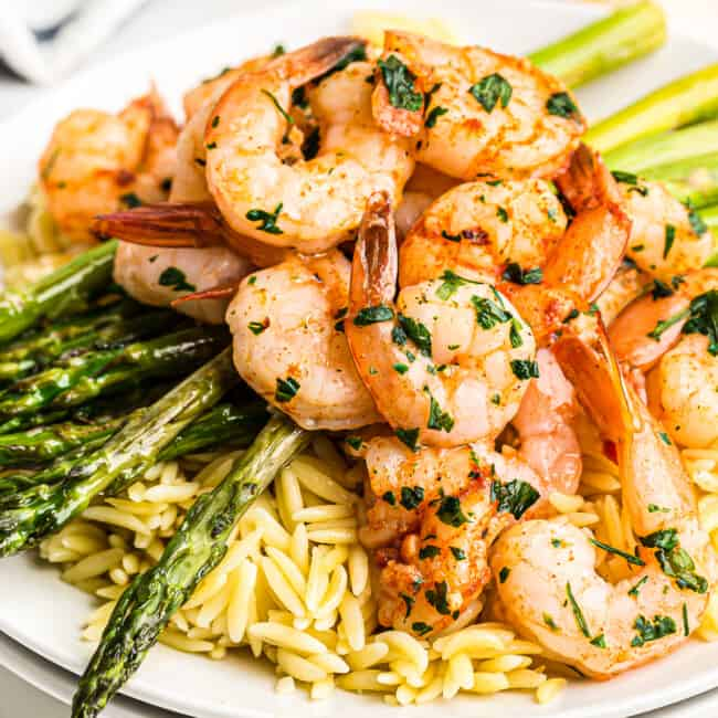 shrimp and asparagus over rice