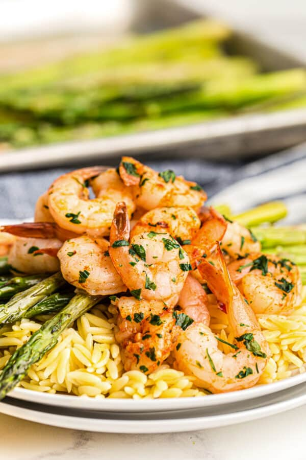 shrimp and asparagus over rice