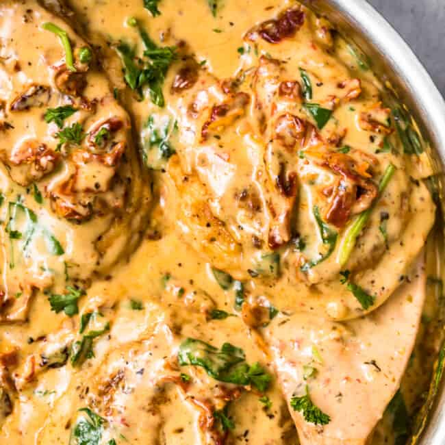 up close image of tuscan chicken in parmesan cream sauce