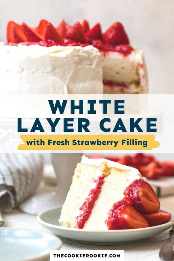 white layer cake with strawberry filling pinterest