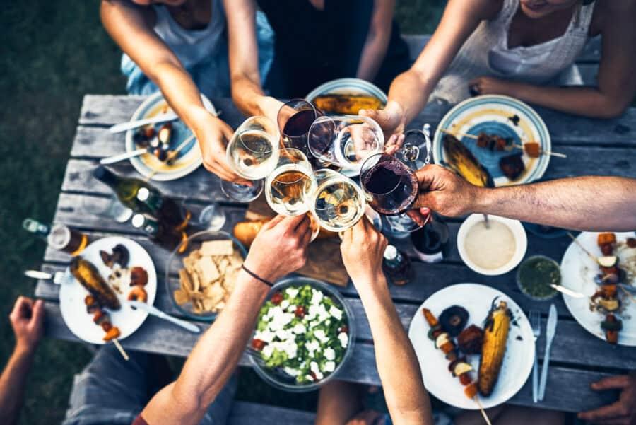 cheersing wine