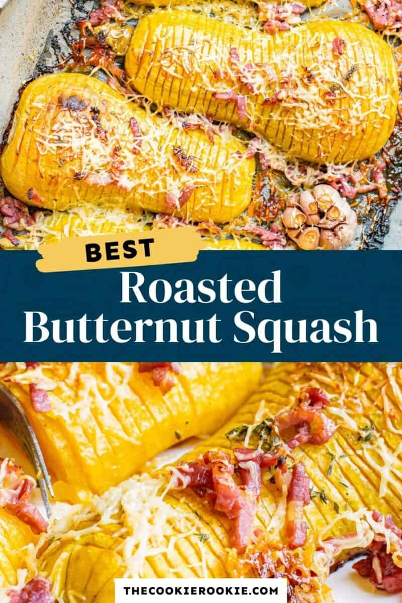 roasted butternut squash hasselback pinterest collage