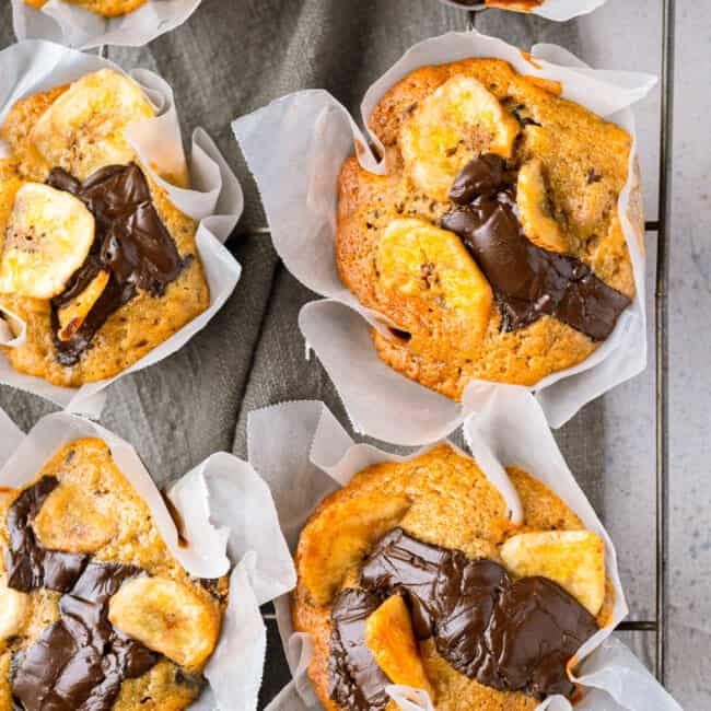 chocolate banana muffins in wrappers