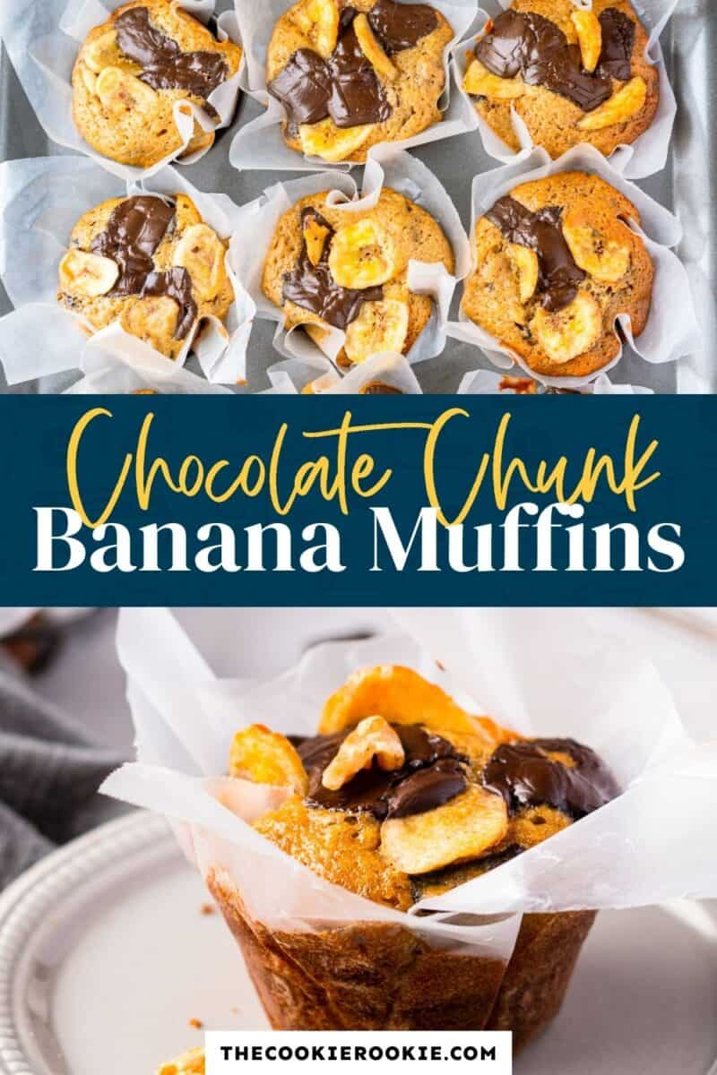 chocolate chunk banana muffins pinterest