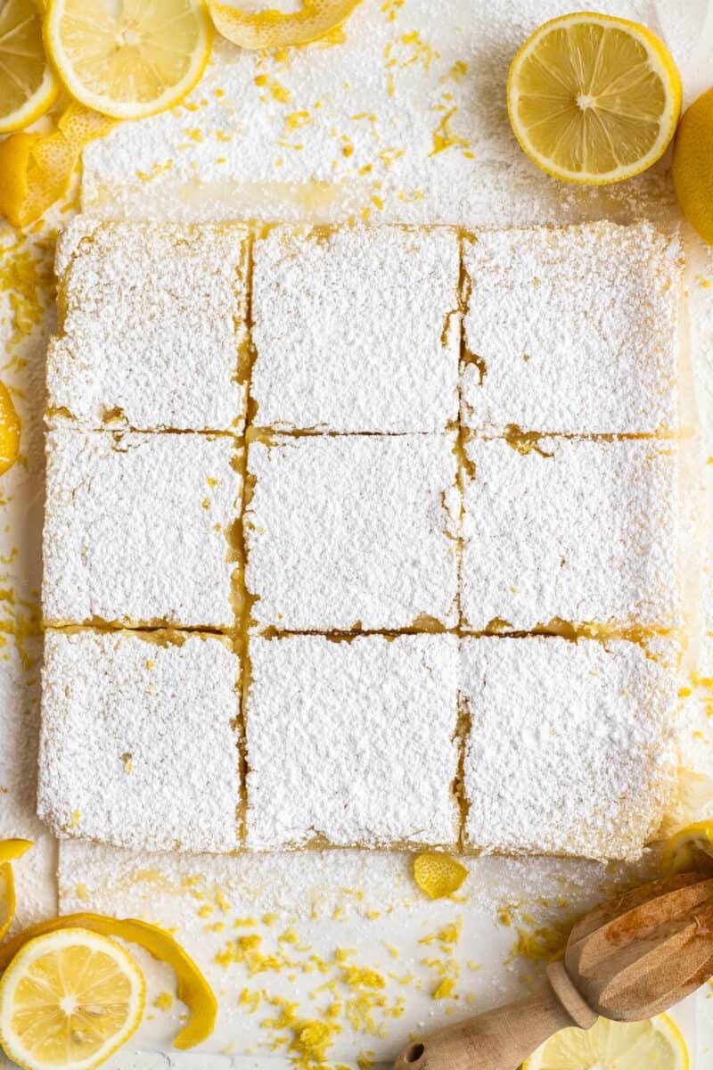 sliced lemon bars on parchment