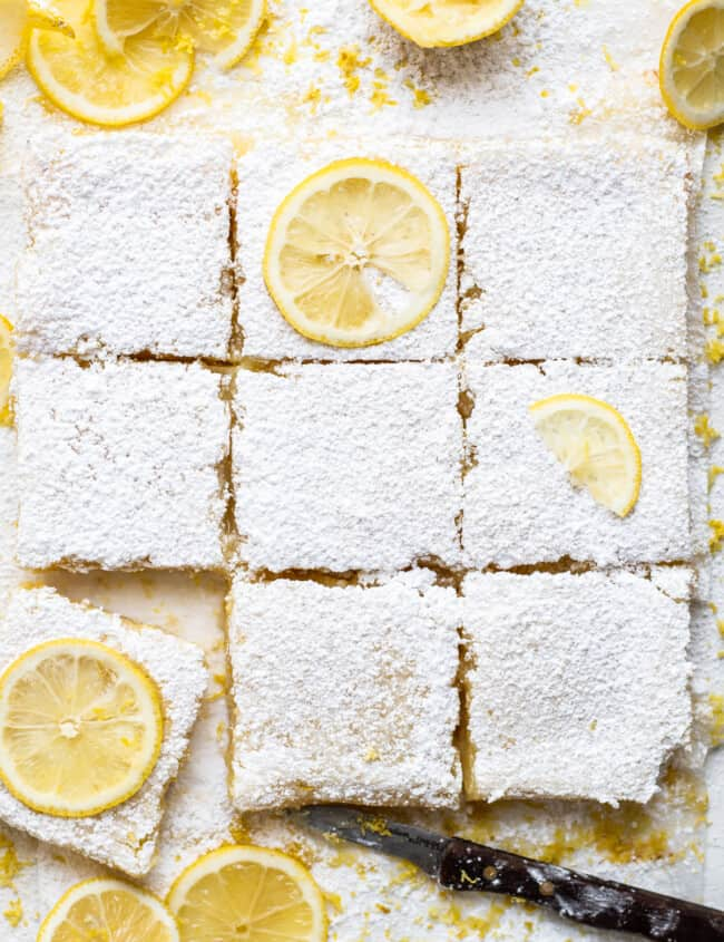 sliced lemon bars with lemon slices