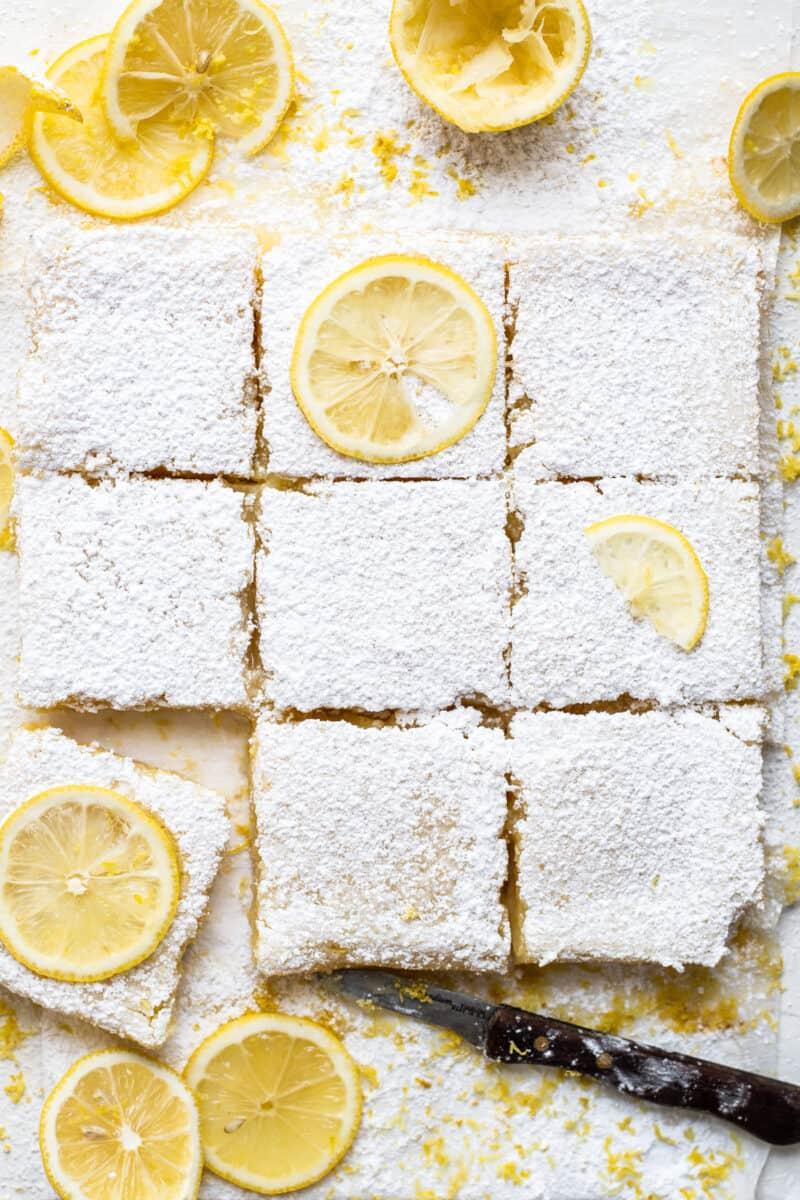 sliced lemon bars with lemon slices