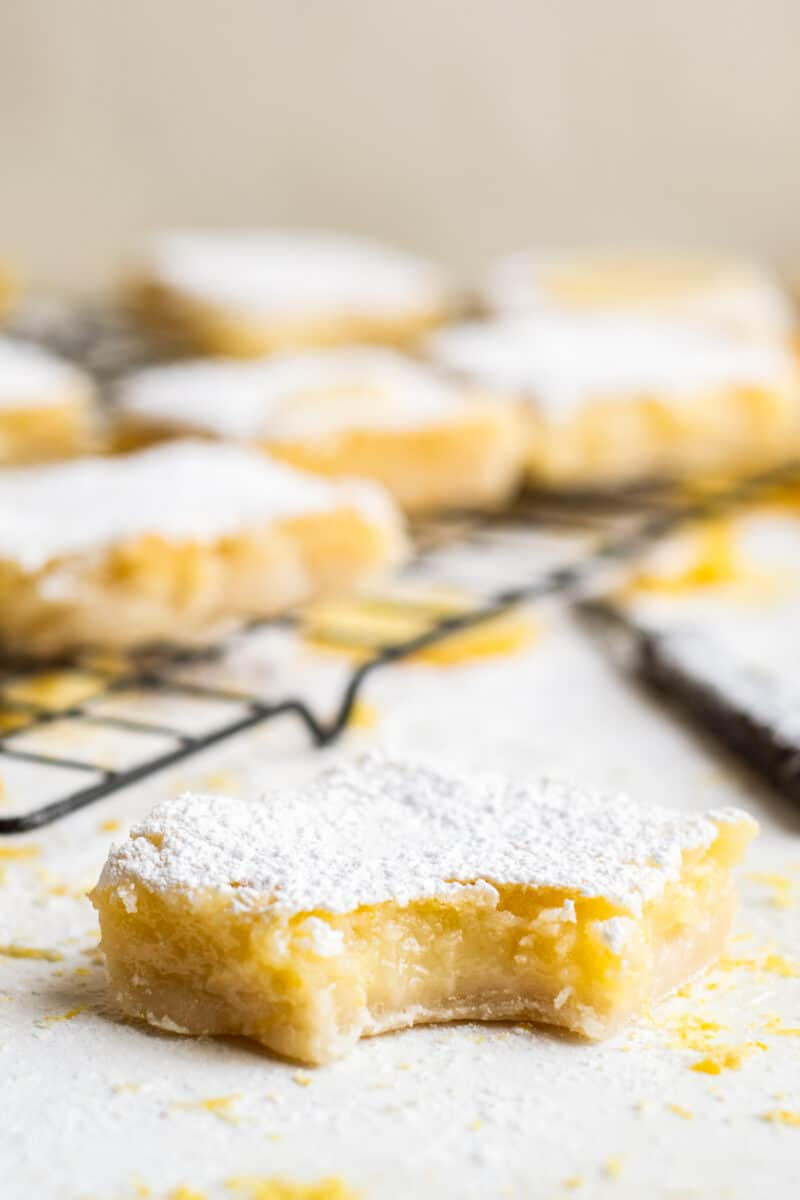 lemon bar with bite out of it