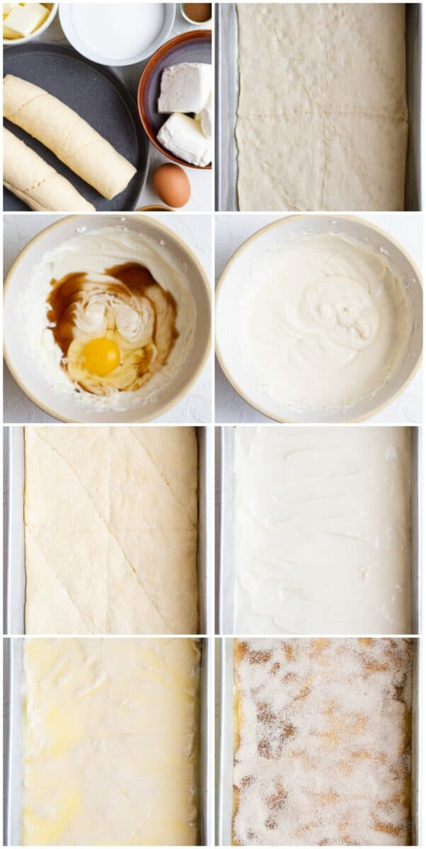 step by step photos of how to make sopapilla cheesecake