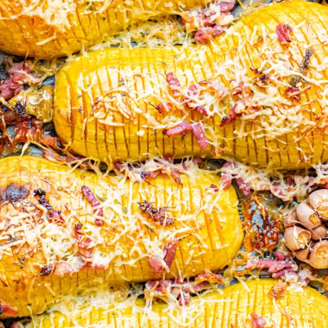 squash hasselback with bacon and cheese.