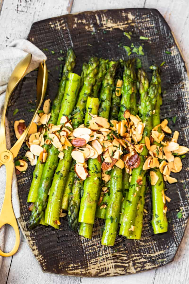 platter with asparagus almondine