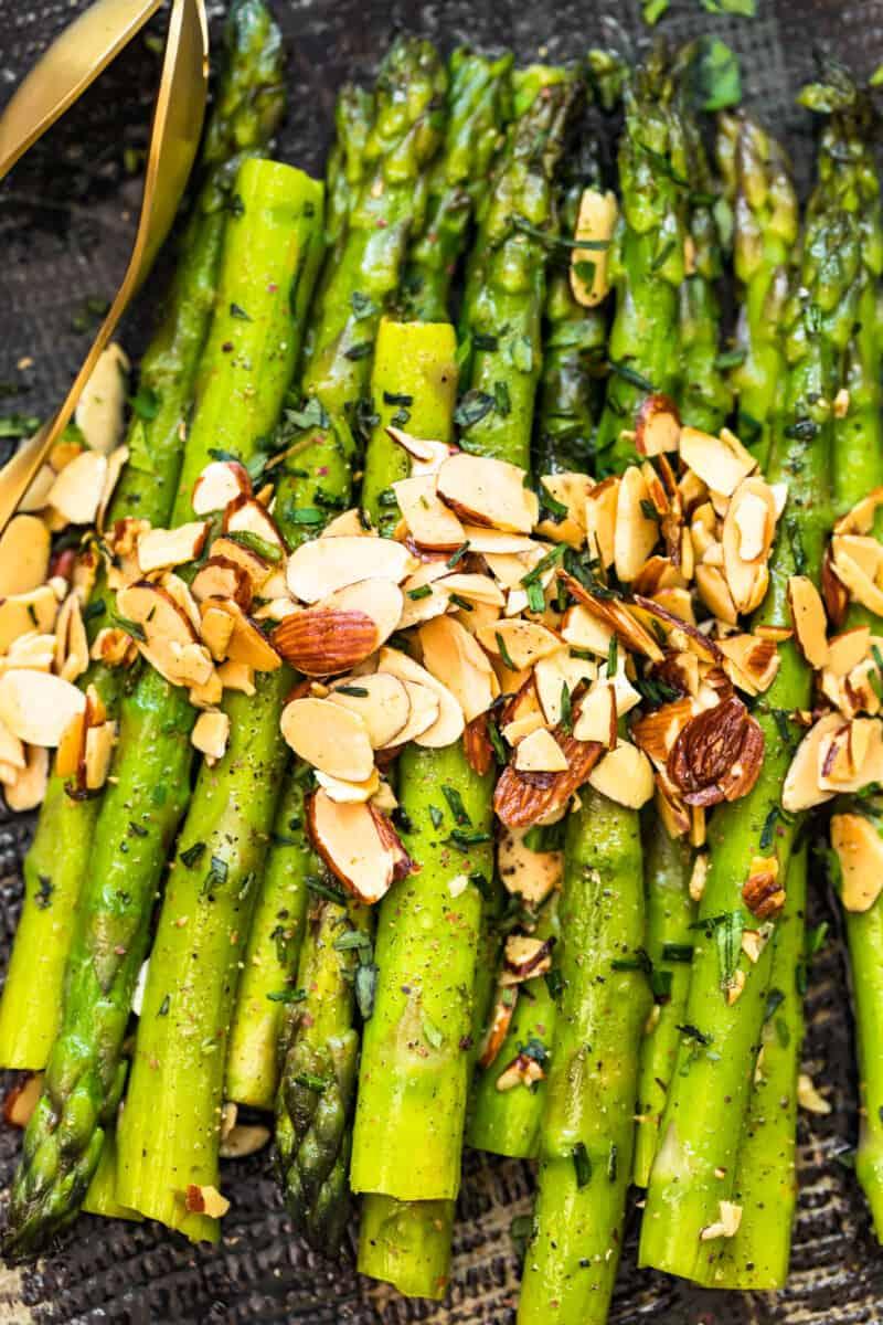sliced almonds over asparagus