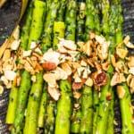 asparagus almondine on platter