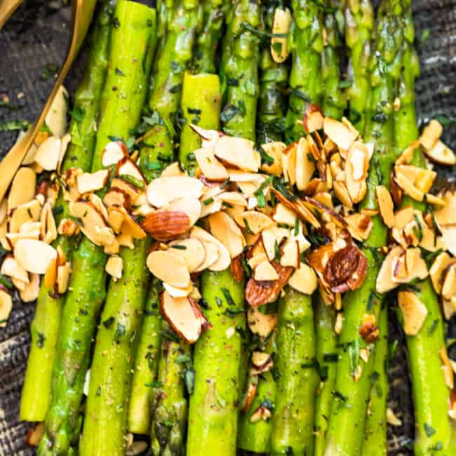 asparagus almondine on platter