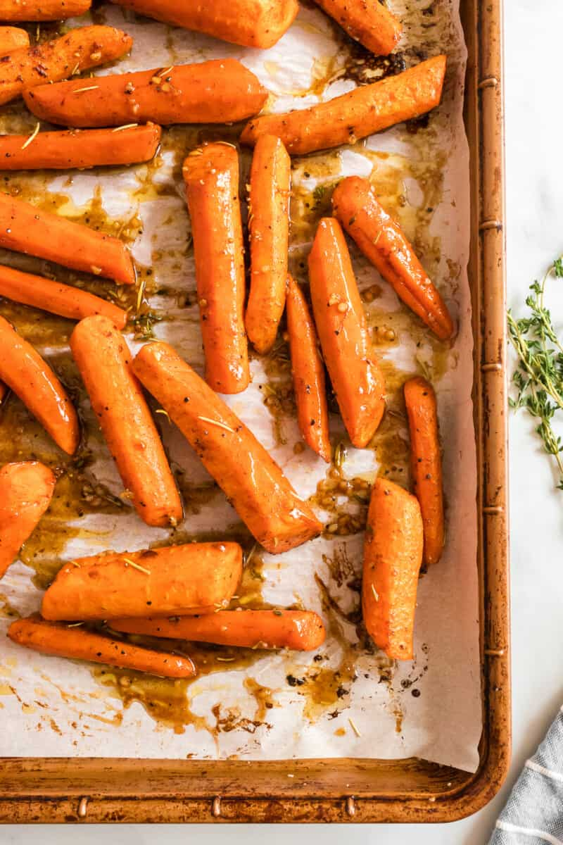 brown sugar glazed carrots on baking sheet