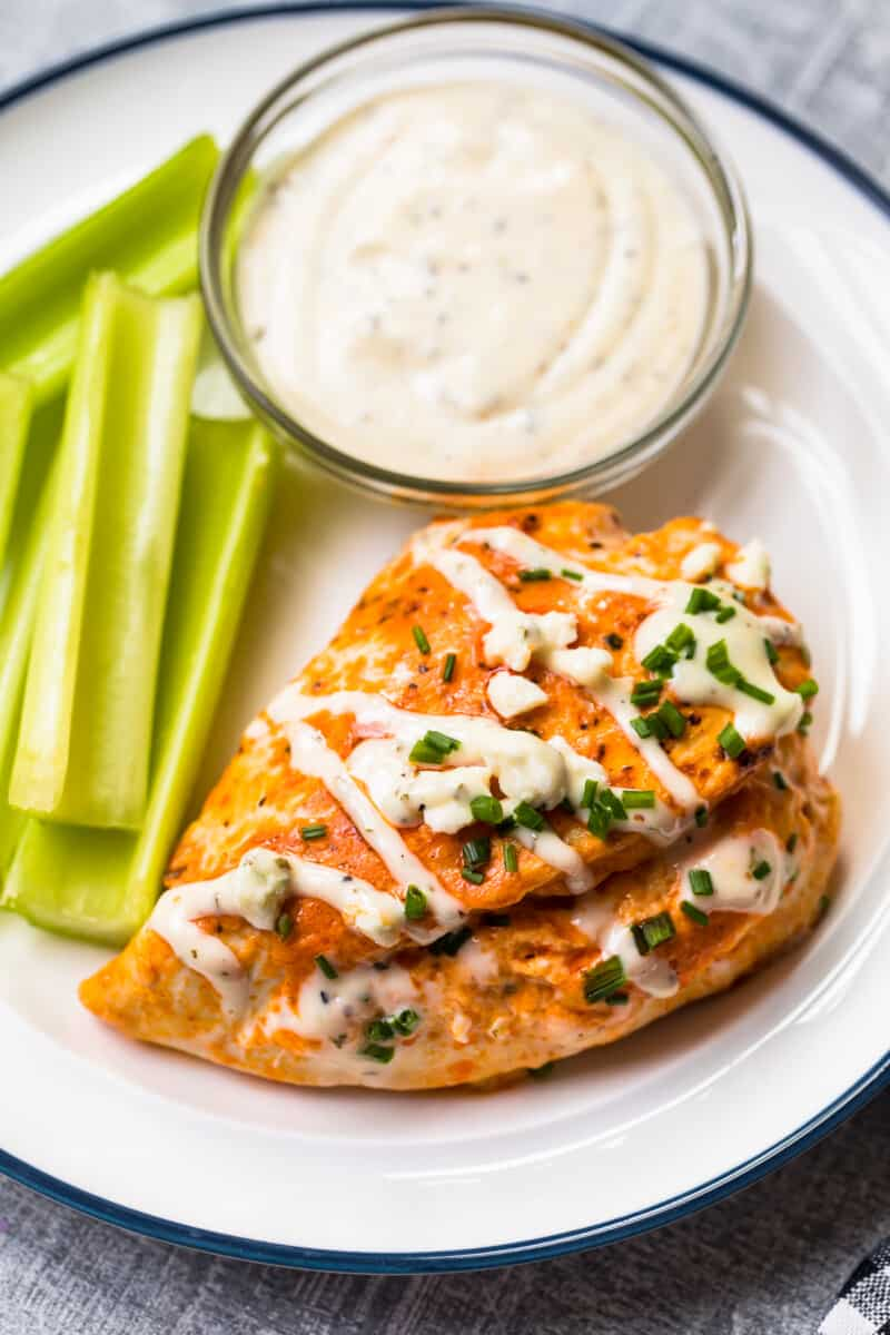 buffalo stuffed chicken breast topped with ranch