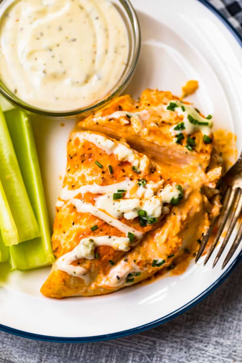 sliced stuffed buffalo chicken